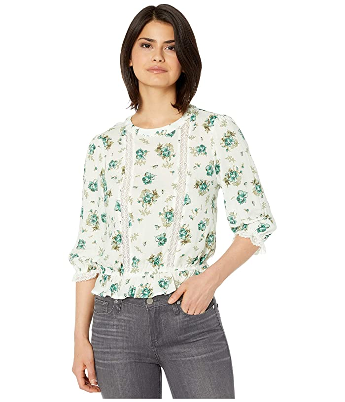 1.STATE  3/4 Sleeve Lace Inset Festival Roses Blouse (Soft Ecru Veridian Emerald Multi) Womens Clothing