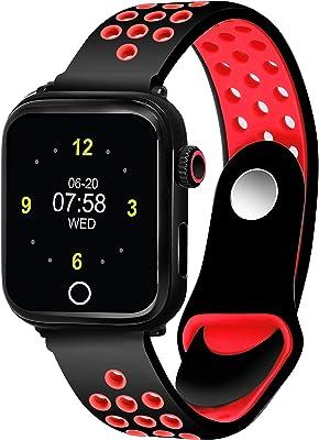 Caviot Multifunctional Black & Red Smart Fitness Tracker Unisex Band Watch - CB1303