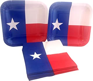 Texas State Flag Party Bundle with Paper Dessert Plates and Napkins for 16 Guests