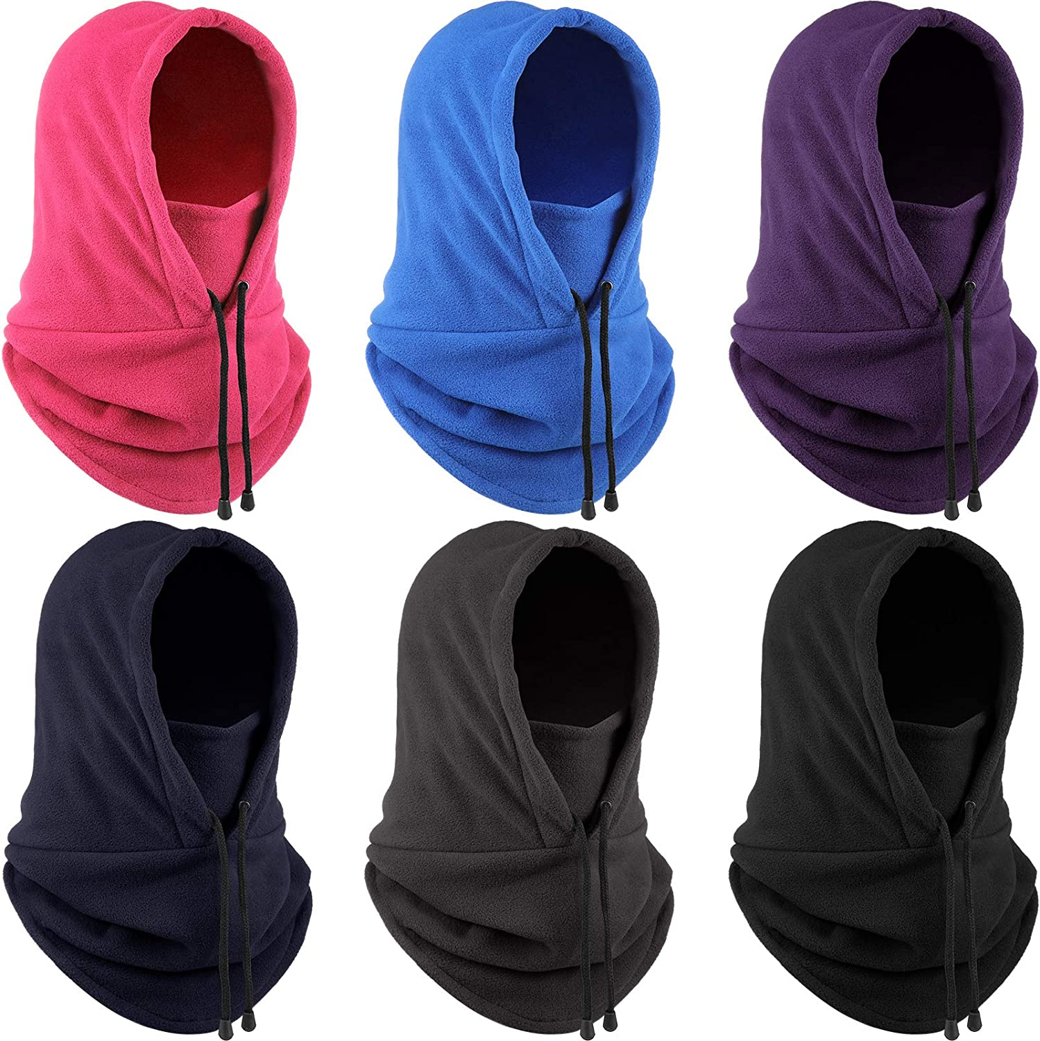 6 Pieces Warm Fleece Balaclava Ski Face Covering Neck Warmer Gaiter Winter Sports Cap for Motorcycle Cycling Running Outdoor Sports
