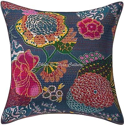 Stylo Culture Indian Throw Pillow Covers Bluish Gray Kantha Impreso Cojín Cojín 40 X 40 Cotton Square Tradicional Tropicana 45x45 cm Cojines Cojín (1 Pz)