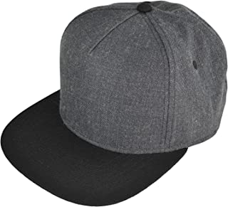 DALIX Premium Wool Blend Hat Flat Bill Cap Snapback Black Dark Gray Maroon Light
