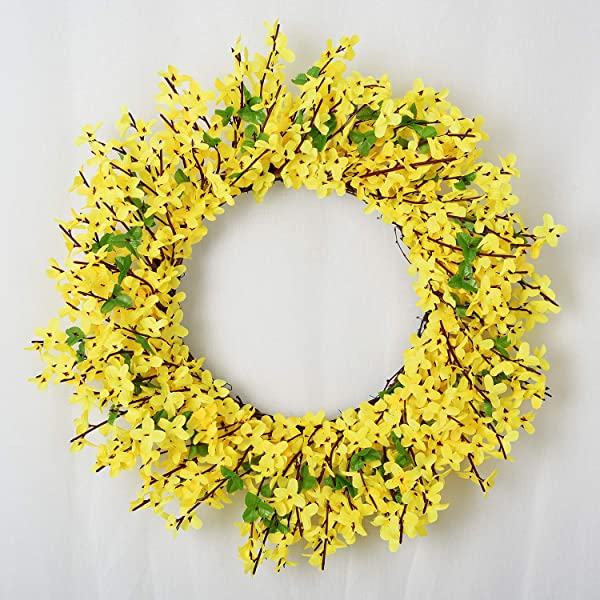 Lvydec Artificial Forsythia Flower Wreath 17 Yellow Flower Door Wreath Fake Flower Spring Summer Wreath For Front Door Wedding Home Decor