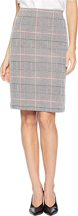 Knit Plaid Slim Skirt