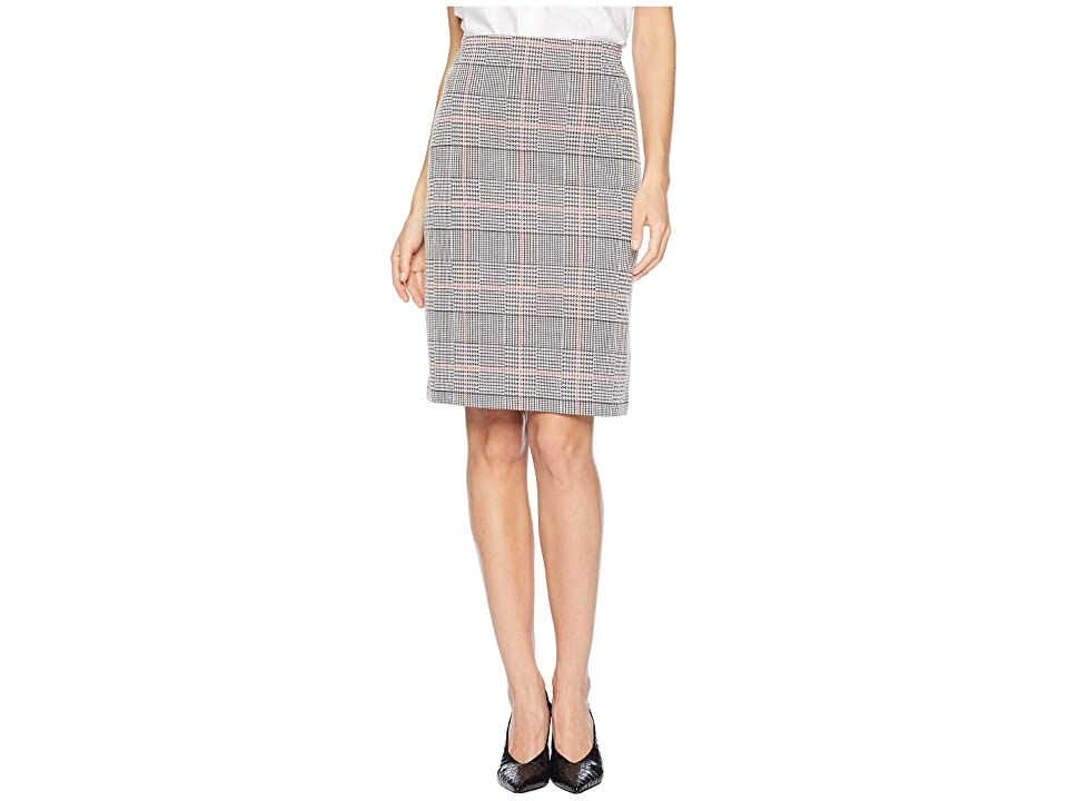 Nine West Knit Plaid Slim Skirt (Black/Cinnamon Multi) Women