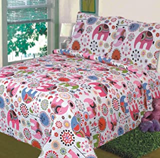 Fancy Collection Twin Size 2pc Bedspread Girls Floral Pink White Elephant New