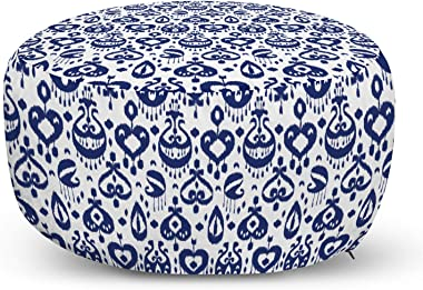 Ambesonne Navy Blue Ottoman Pouf, Traditional Ikat Pattern Retro Style Composition Damask Inspired, Decorative Soft Foot Rest