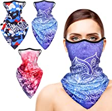 BRINCH Face Bandanas for Women, Stylish Neck Gaiters with Ear Loops Outdoor, 3pcs
