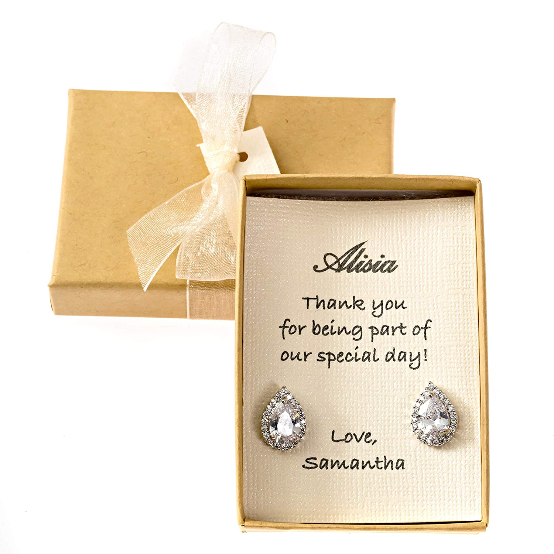 Bridesmaids earrings Bridesmaid Max 85% OFF Earrings Zirconia Jewelr Cubic Columbus Mall