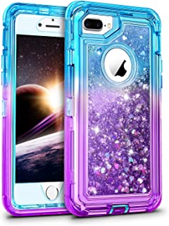 WESADN Case for iPhone 8 Plus Case,iPhone 7 Plus Case for Girls Women Cute Glitter Liquid Protective Bling Heavy Duty Shockproof Gradient Cover for iPhone 8 Plus 7 Plus 6 Plus 6s Plus,Teal Purple