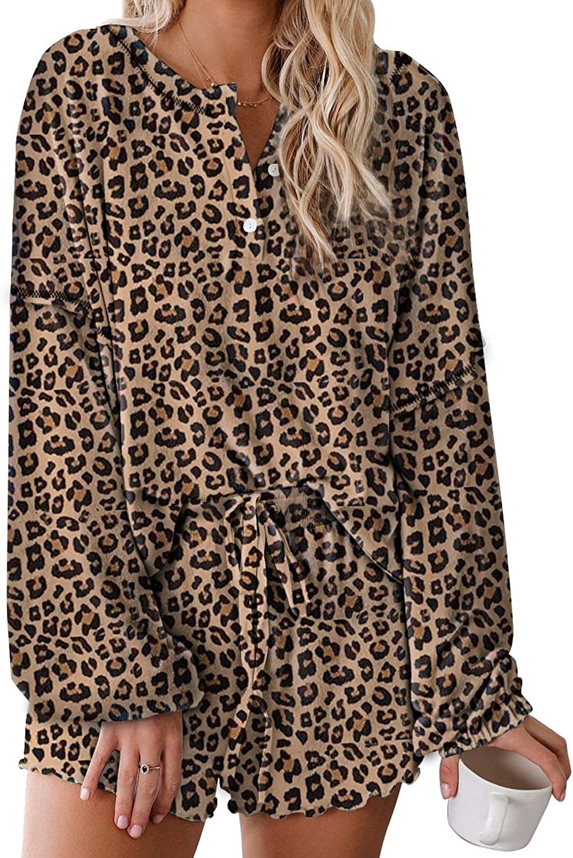 Elapsy Womens Long Sleeve Short Pajamas Set Tie Dye Printed Ruffle Soft Top and Pants PJ Set Nightwear Sleepwear Loungewear