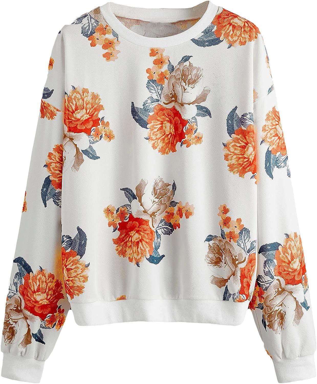 SOLY HUX Women's Plus Size Floral Print Drop Shoulder Long Sleeve Top Pullover Sweatshirt