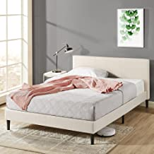 Zinus Nelly Classic Home Queen Bed Frame Fabric Upholstered Platform - Beige