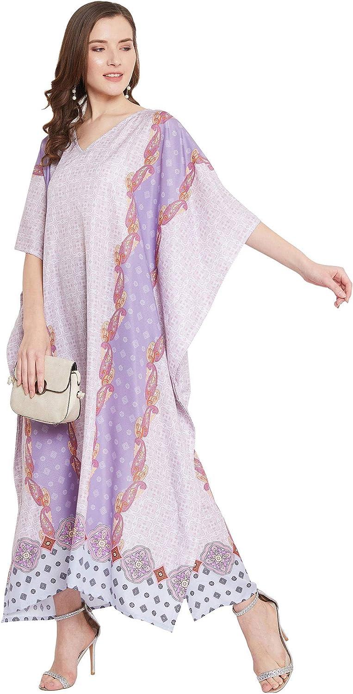 Gypsie Blu Women Printed Kaftan Dress Plus Size Long Maxi Caftan Printed Casual Beach Dress