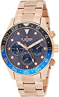 Naviforce Men's Blue Dial Stainless Steel Analogue Classic Watch - NF9147-RGBE