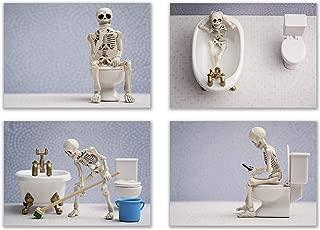 Summit Designs Bathroom Skeleton Wall Art Prints - Set of 4 (5x7) Poster Photos - Funny Hipseter Skull Bones