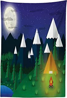 Lunarable Camping Tapestry, Outdoor Activity Themed Cartoon with Mountains Lake Full Moon and Starry Night, Fabric Wall Hanging Decor for Bedroom Living Room Dorm, 30