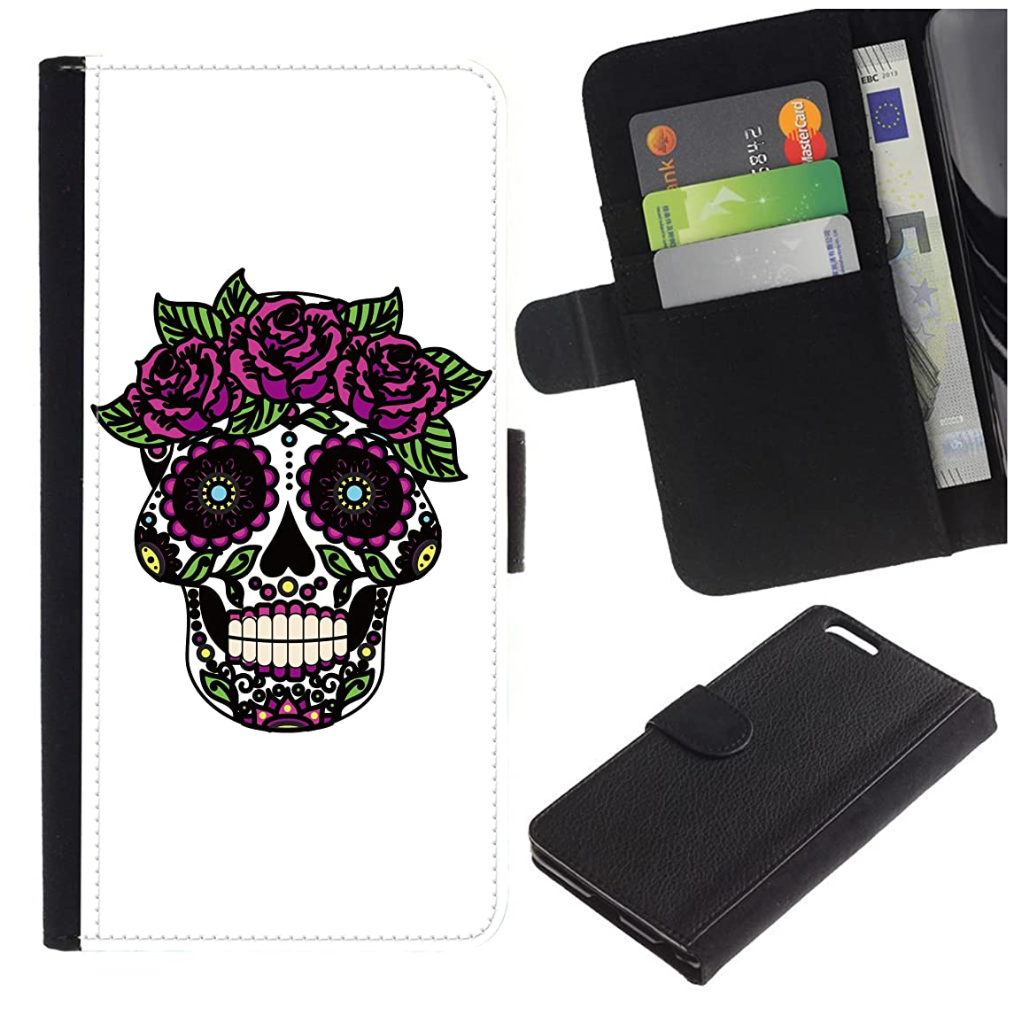 [Candy Skull/Sugar Skull] for LG Aristo Case/LG Phoenix 3 / K8 2017 / Fortune/Risio 2 / K4 2017 / V3, Flip Leather Wallet Holsters Pouch Skin Case