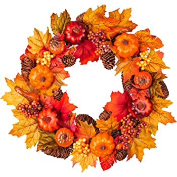 15Inch Fall Wreath Front Door Wreath with Maple Leaf,Pumpkin, Pine cone,Berries Garland Harvest Wreath for Halloween and Thanksgiving Home Indoor or Outdoor Arrangement Decoration