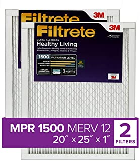 Best Filtrete 20x25x1, AC Furnace Air Filter, MPR 1500, Healthy Living Ultra Allergen, 2-Pack (exact dimensions 19.719 x 24.688 x 0.78) Review