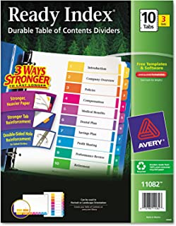 Avery Eco-Friendly 10 Tab Dividers for 3 Ring Binders, Customizable Table of Contents, 3 Sets (11082)