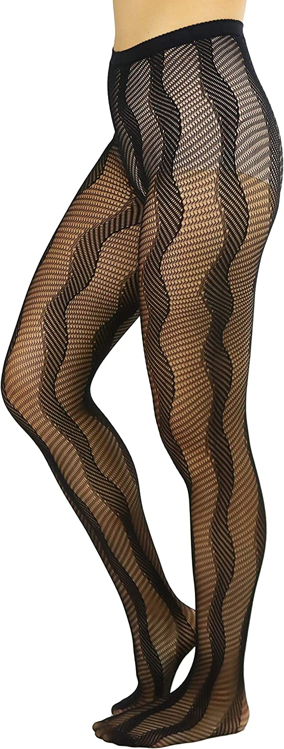 ToBeInstyle Womens Sexy Night Waves Design Fishnet Pantyhose