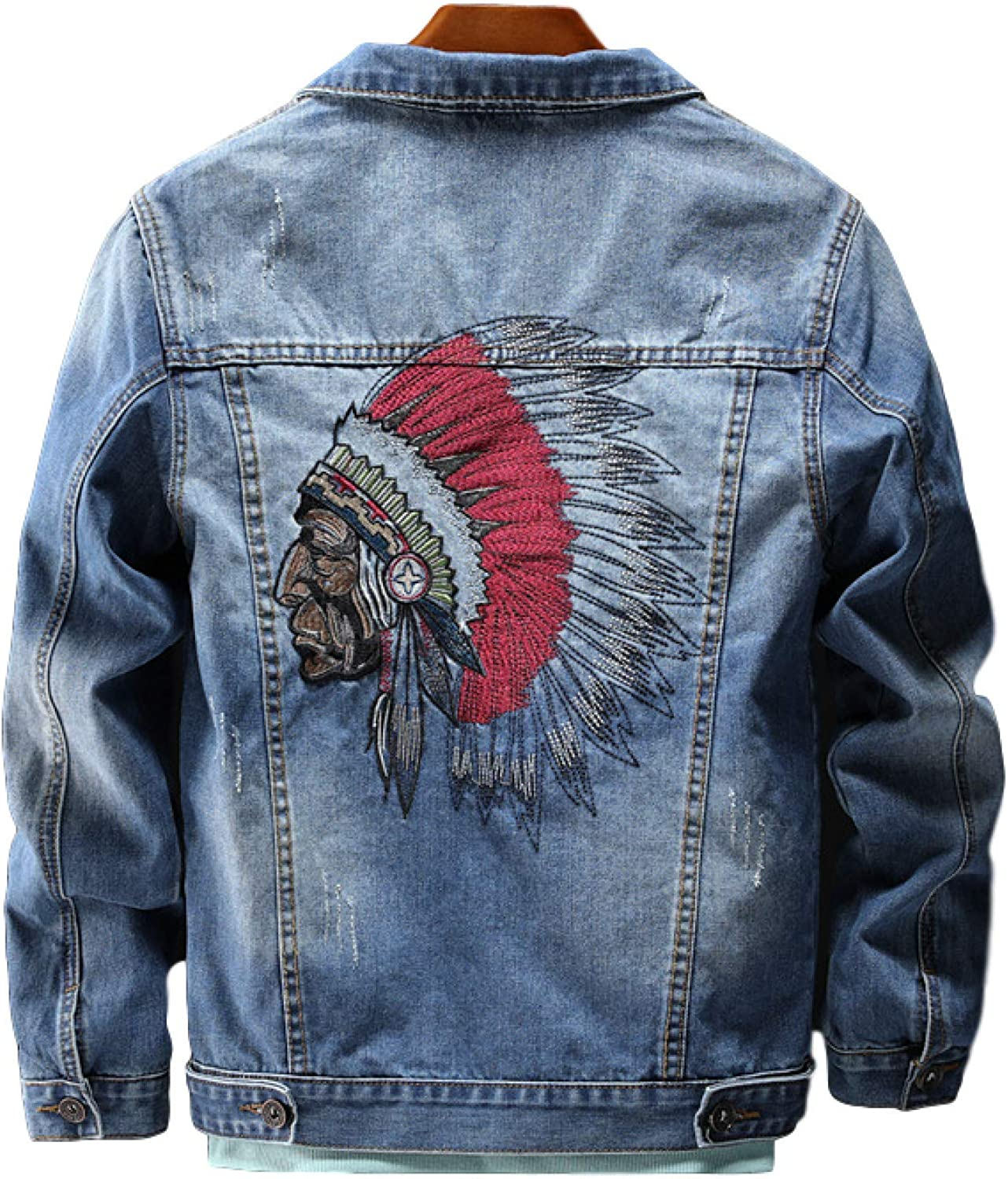 Zestion Men's Denim Jacket Ethnic Embroidery Loose and Comfortable Patchwork Stitching