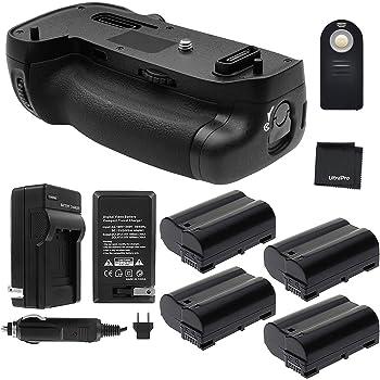 Battery Grip Bundle F//Nikon D7500: Includes MB-D18 Replacement Grip AC//DC Plugs 4-Pk EN-EL15 Long-Life Battery UltraPro Accessory Bundle Rapid Dual Charger