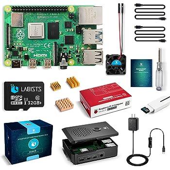 LABISTS Raspberry Pi 4 4B-32GB(技適マーク入)MicroSDHCカード32G/Raspbianシステムプリインストール/カードリーダ /5.1V/3A Type-C スイッチ付電源/MicroHDMI-to-HDMIケーブルライン/三つヒートシンク/簡単に取り付けケース/日本語取扱説明書/24ヶ月保証