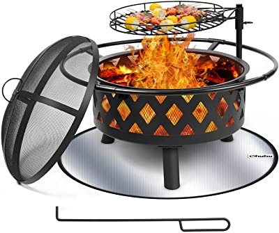 30 Inch Large Fire Pit with Cooking Grate for Outside, Ohuhu 2-in-1 Outdoor Wood Burning Fire Pits with Fireproof Mat, Mesh Lid & Poker, BBQ Grill Firepit for Patio Backyard Garden Camping Bonfire