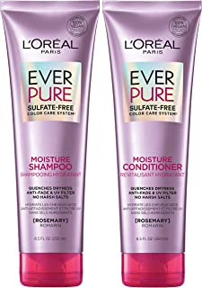L'Oréal Paris EverPure Moisture Sulfate Free Shampoo and Conditioner Kit for Color-Treated Hair, Rosemary, 8.5 Ounce, Set of 2 (Packaging May Vary)