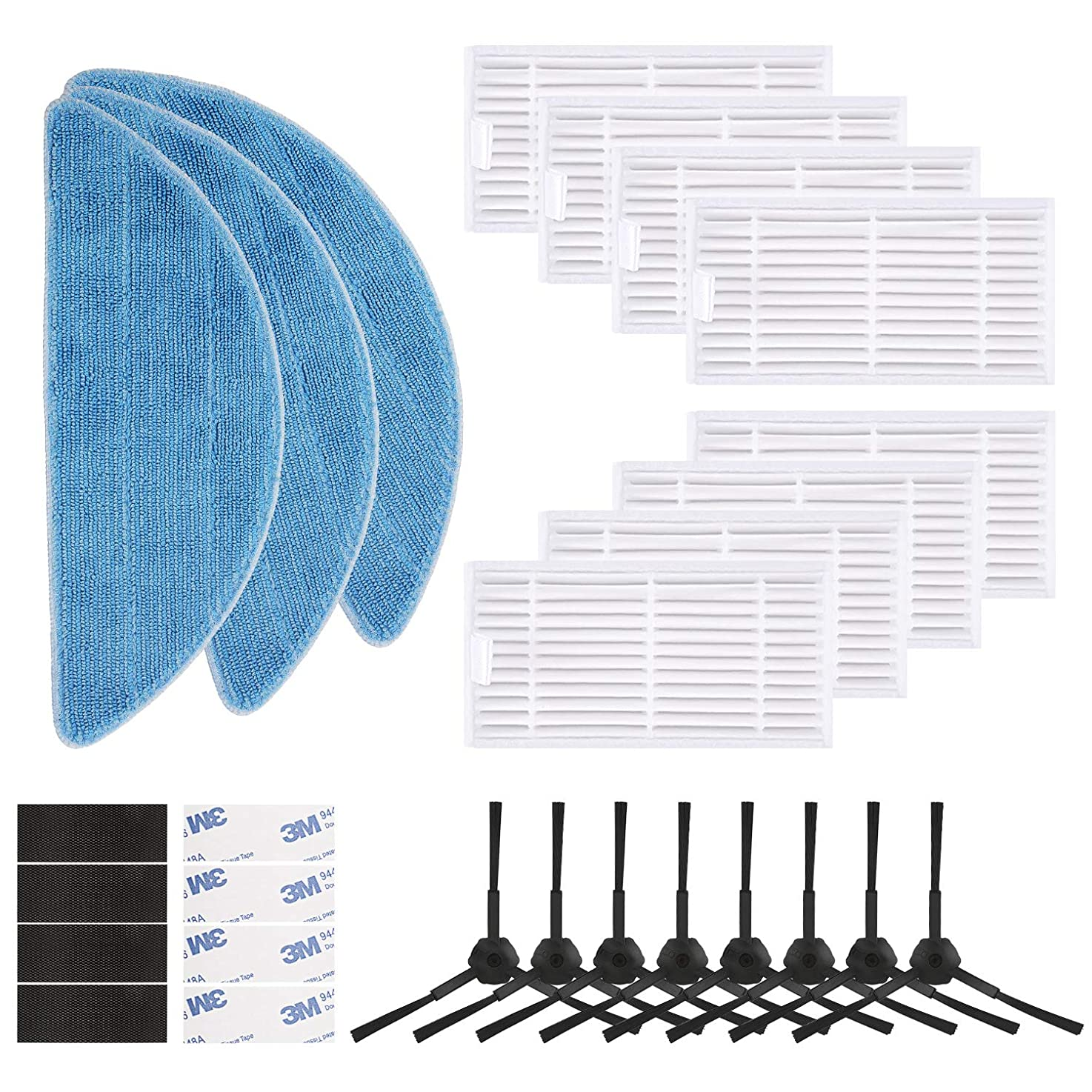 isinlive Replacement Set Compatible with ILIFE V3 V3s V5 V5s V5s pro Robot Vacuum Cleaner Including 8 Side Brushes + 8 Hepa Filters + 3 Mop Pads + 8 Magic Pastes