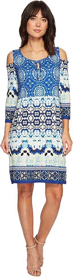 Cold Shoulder Printed Dress with Keyhole Detail