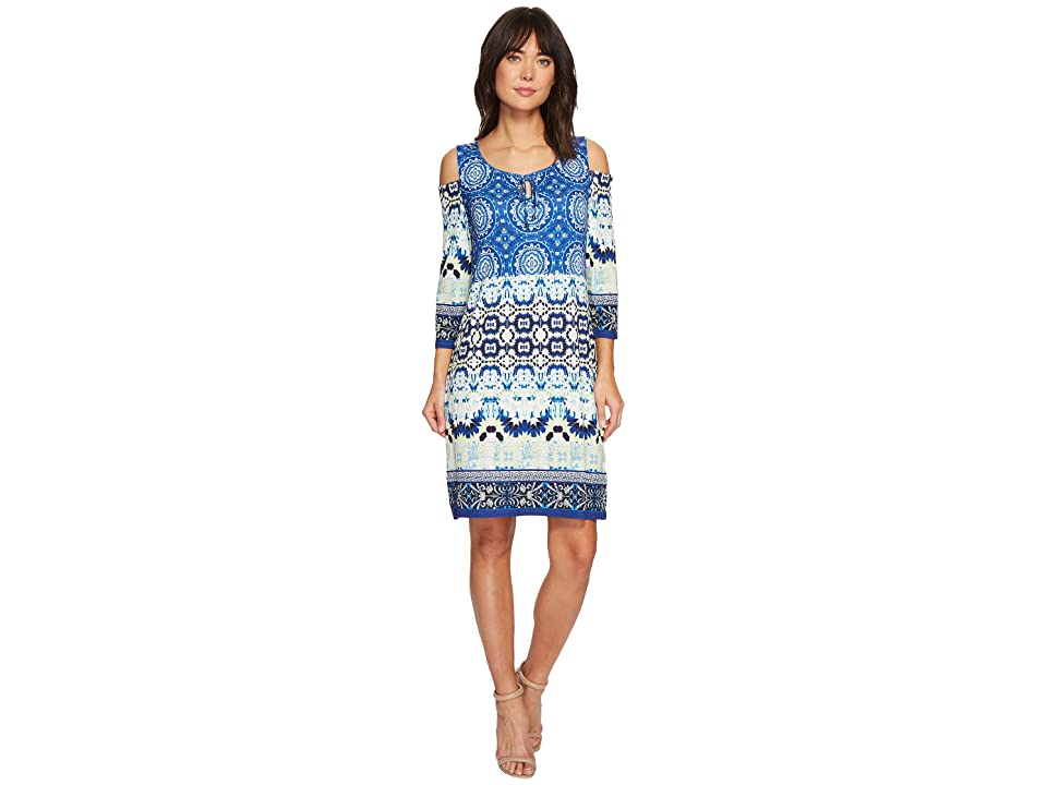 Tribal Cold Shoulder Printed Dress with Keyhole Detail (Pacific) Women