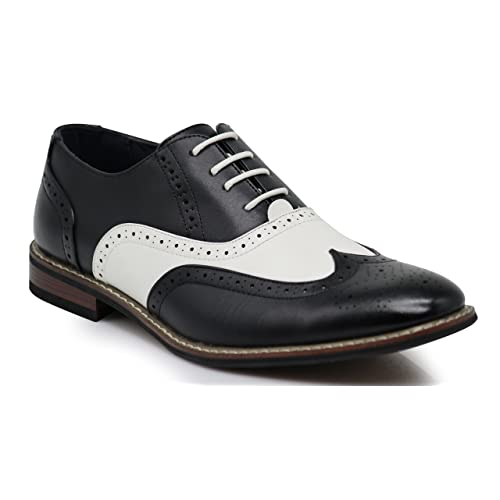 2d0dca13e72f Wooden08N Men s Two Tone Wingtips Oxfords Perforated Lace Up Dress Shoes