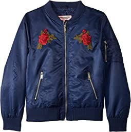 Rosa Poly-Twill Bomber Jacket w/ Rose Patches (Little Kids/Big Kids)