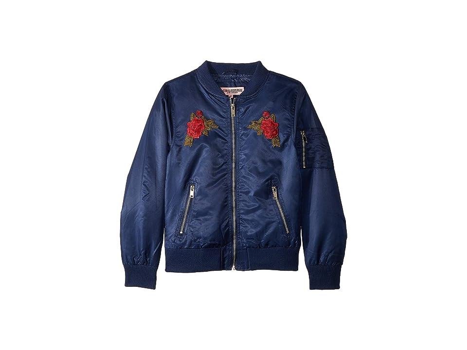 Urban Republic Kids Rosa Poly-Twill Bomber Jacket w/ Rose Patches (Little Kids/Big Kids) (Blue) Girl