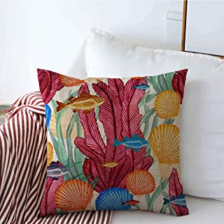 Decorative Throw Pillow Cover Color Blue Coral Watercolor Fishes Sea Shells Pattern Painting Nature Red Ocean Coastal Sealife Linen Pillowcase Square Size 16