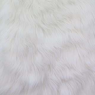 FAUX FAKE FUR SOLID GORILLA ANIMAL LONG PILE FABRIC - White - 60
