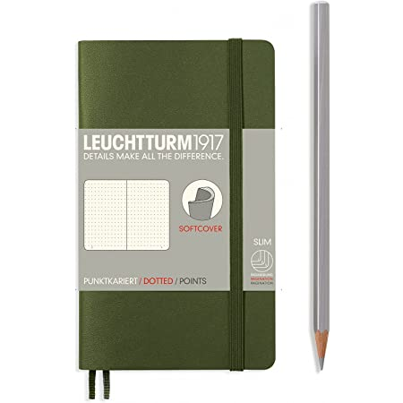 LEUCHTTURM1917 Soft Cover Small (A6) Slim Pocket Notebook, Army Green, Dotted