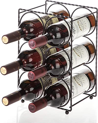 Home Zone Living Wine Rack - Countertop Freestanding Holder, Stores up to 6 Bottles