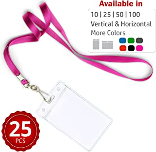 Durably Woven Lanyards & Vertical ID Badge Holders ~Premium Quality, Waterproof & Dustproof ~ for Moms, Teachers, Tours, Events, Businesses, Cruises & More (25 Pack, Pink) by Stationery King