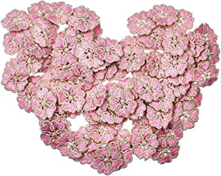 RayLineDo 100PCS Pink Color Small Daisy Flower Patch Stickers Embroidery Badge Sewing On Applique Patch for Bags Jackets Tablecloth Bedsheets
