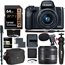 Canon EOS M50 15-45mm f/3.5-6.3 is STM Mirrorless Digital Camera Bundle, Includes 64GB U3 Video Memory Card, Camera Bag + Mic + Compact Monopod + Filter Kit & More