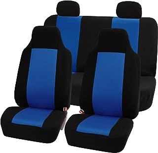 FH Group FB102114 Full Set Classic Cloth Car Seat Covers w. E-Z Travel Car Storage Bag, Blue/Black- Fit Most Car, Truck, SUV, or Van