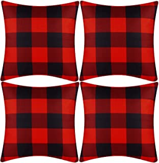 Kolewo4ever 4 Pack Buffalo Check Plaids Throw Pillow Covers Black White Check Plaid Cushion Covers Farmhouse Pillow Case for Home Sofa Bedroom Office Car 18 x18 Inch (Color Set 1)