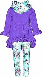 Unique Baby Girls Boutique 3 Piece Purple Floral Legging Set