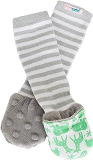 Handsocks Plush Mittens (XS (0-3 Months), Newton (Jungle Print/Grey Stripe))