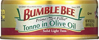 BUMBLE BEE PRIME FILLET Tonno in Olive Oil, Canned Tuna in Olive Oil, Gluten Free Food, High Protein Snacks, Bulk Snacks, ...