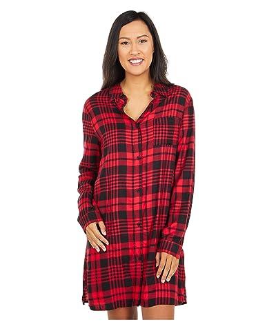 Donna Karan Sleepwear Flannel Sleepshirt (Lips Plaid) Women